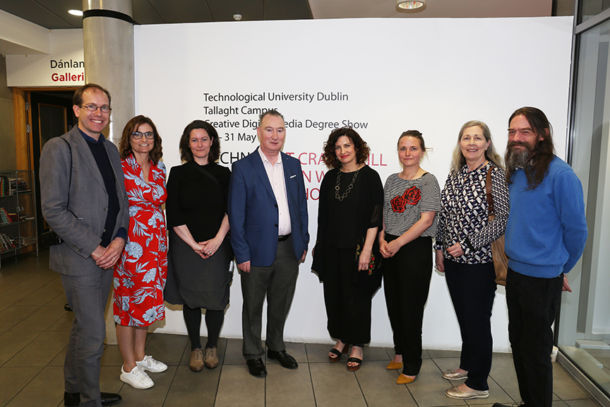 TU Dublin Tallaght Campus and Rua Red staff at the launch of Creative Digital Media Degree Show 2019, including centre: Dr Damien Roche, Head of School of Business and Humanities, Tallaght Campus; Maolíosa Boyle, Executive Director, Rua Red.