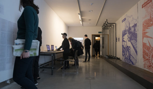 Creative Digital Media Students from the Institute Of Technology Tallaght at work in Gallery 2. Photo By David Reilly